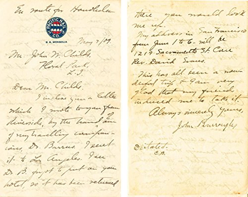 John Burroughs 8 page letter in another hand but autographed by John Burroughs (Another Letter)