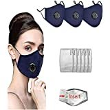 6 PCS Activated Carbon Filter Replacement Sheet+3PCS Reusable Face Màsc Sport/Office Bandanas, with Breathing valve
