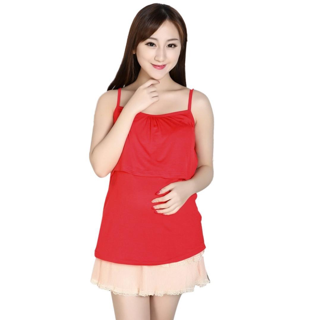 Pregnant Suspenders Maternity Nursing Tops Breastfeeding Vest Best-Y9