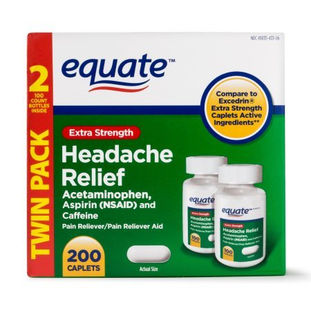 Equate Extra Strength Headache Relief Caplets, 250 mg, 100 Ct, 2 Pk