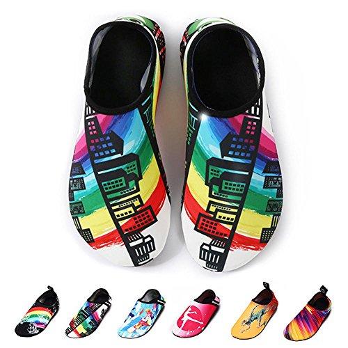 Aolvo Zapatillas de vela para mujer Running Man Xl Colorful Building Xl