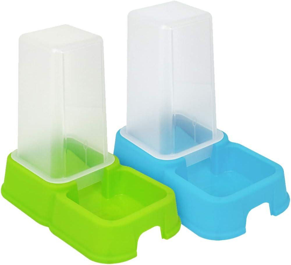 com-four® dispensador 2X para Alimentos y Agua para Mascotas 1.5 litros, Recipiente automático para Alimentos Perros y Gatos, 26.2 x 24 x 15.4 cm (02 Piezas - dispensador de alimento Colorido)