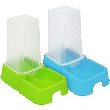 com-four® 2X Dispensador de Comida y Agua para Mascotas de 1.5 litros,
