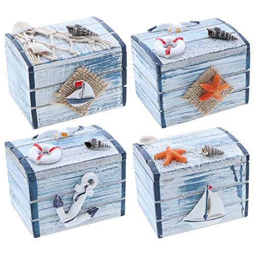 SandT Collection 3 Inch Nautical Theme Treasure Chest Trinket Box - Mixed Set of 4 ()
