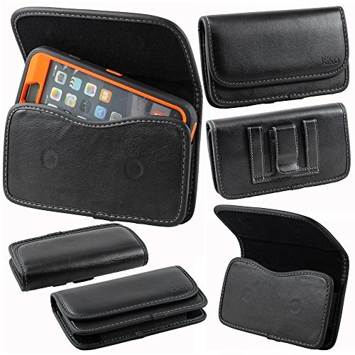 Samsung Galaxy Note 4, Note 3, Note 2, iPhone 6 Plus 5.5 Premium PU Leather Universal Horizontal Carrying Holster Belt Clip Loop Pouch Case Cover Fits Otterbox Defender Series and Lifeproof Cover on (Black Universal Horizontal Pouch)