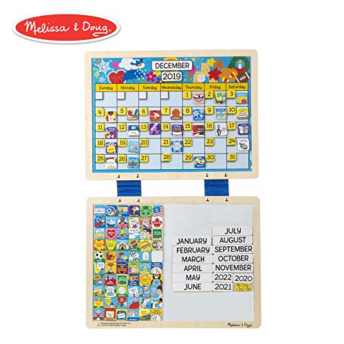 - Melissa & Doug Monthly Magnetic Calendar With 133 Magnets and 2 Fabric-Hinged Dry-Erase Boards