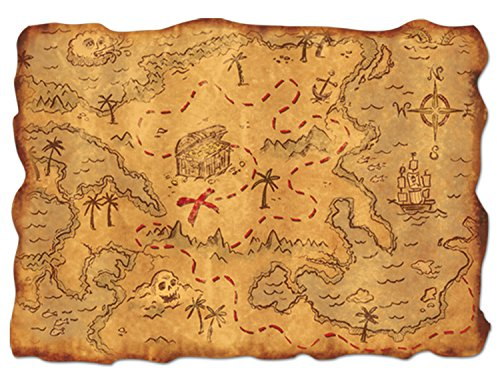 Plastic Treasure Map Party Accessory (1 count) (1/Pkg) ()