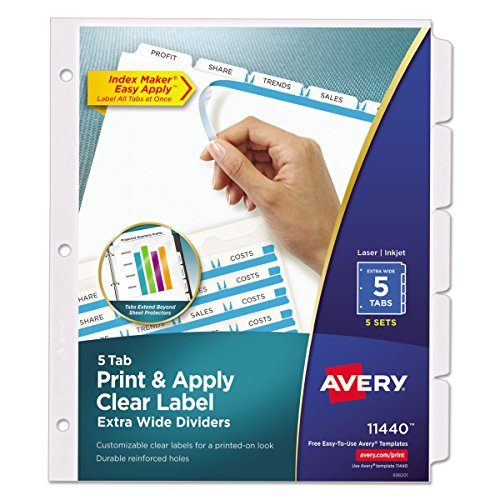 Avery Extra-Wide Dividers, Ink Jet Printer, White, 5-Tab, 9 x 11 Inches, 5 Sets (11440) (Tab Printers Inkjet 5)