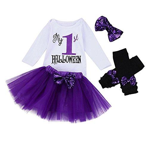 Tsmile 4Pcs Baby Girls My First Halloween Romper+Sequins Tutu Skirt+Bowknot Leg Warmer+Headband Outfit (70, Purple)