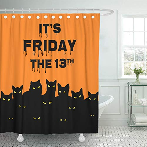 Emvency Shower Curtain Day Orange Superstition Halloween for Friday 13 Black Cats Shower Curtains Sets with Hooks 72 x 78 Inches Waterproof Polyester Fabric -
