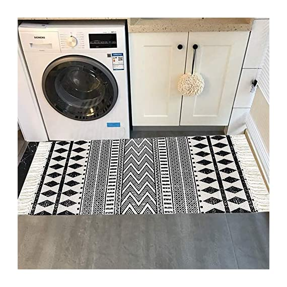 "HEBE Cotton Area Rug Set 2 Piece 2'x3'+2'x4.2' Machine Washable Black and Cream White Hand Woven Cotton Rug with Tassels Cotton Area Rug Runner for Living Room, Kitchen Floor, Laundry Room - Cotton Rugs Size: Hand Woven cotton tassel rugs set 2 pieces, small cotton accent rug measures 2'x3'(60*90cm) and long cotton runner rug measures 2'x4'3""(60x130cm). Durable Cotton Rugs: Our cotton rug well made by 100% Natural Cotton material.Great water absorption,protect your floors from moisture, stains and scratches,give soft and breathable touch when people walk on them. Classic Design: Cotton rugs designed with geometric patterns and extra snazzy knotted fringe tassels on each side which make them seem simple. Black and cream white color that will make it never go out of style and long time stay on the floor and also match all themed room decor. - runner-rugs, entryway-furniture-decor, entryway-laundry-room - 51XvZ%2B%2B8MQL. SS570  -"