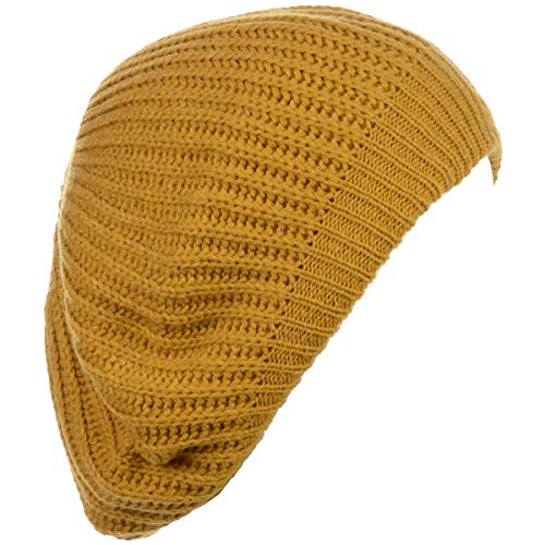 BYOS Ladies Winter Solid Chic Slouchy Ribbed Crochet Knit Beret Beanie Hat Mustard Yellow