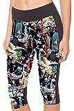 COCOLEGGINGS Womens Workout YOGA Capri Leggings Tights with Pattern Printed (Medium, Nightmare Before Christmas)