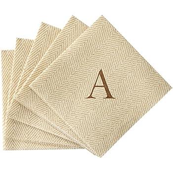 with caspari jute herringbone paper linen cocktail napkins monogram initial a pack of