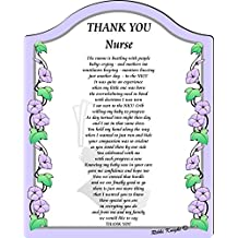 Thank you to a Special NICU Nurse Touching 5x7 Poem with Full Color Graphics - Professionally Printed onto Chromaluxe Arch Panel with Easel Back