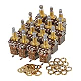 Yibuy Gold Push Pull Guitar Potentiometer Switch Pots Tone B250k 18mm Shaft Set of 15