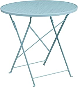 "Flash Furniture Commercial Grade 30"" Round Sky Blue Indoor-Outdoor Steel Folding Patio Table"