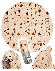 RAINBEAN Burrito Tortilla Pizza Blankets Funny Gifts for Your Family and Friends, Cute Food Wrap Blanket for Adults,Kids and Teens, 70 inches Soft and Fuzzy Throw Blankets for Christmas White Elephant