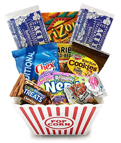 (Movie Night Popcorn and Candy Gift Basket Plus Free Redbox Movie Rental Code Gift Card - Birthday, Get Well, Halloween, Christmas (Deluxe Movie)