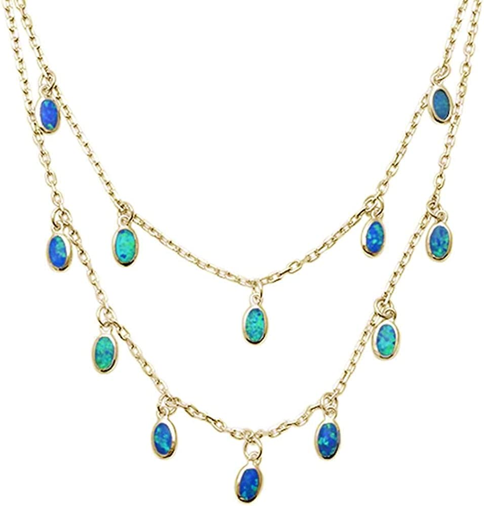 Princess Kylie Blue Synthetic Opal Waterfalls Necklace Yellow Gold-Toned Plated Sterling Silver