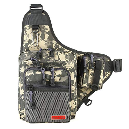 - NOEBY Sports Shoulder Bag Portable Tackle Storage Hunter Fishing Hiking Hunting Camping Cycling Mountaineering Tackle Backpack Cross Body Messenger Sling Bags (Digital Camouflage)