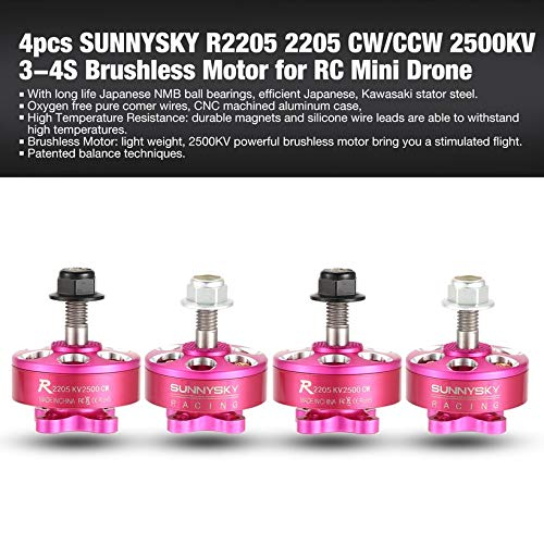 4pcs SUNNYSKY R2205 2205 CW/CCW 2500KV 3-4S Brushless Motor for Mini Drone RC by Wikiwand (Image #2)