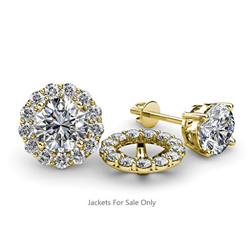 Halo Jacket for Stud Earrings 0.78 ct tw to 0.82 ct tw in 14K Yellow Gold. Tw Diamond Earring Jackets
