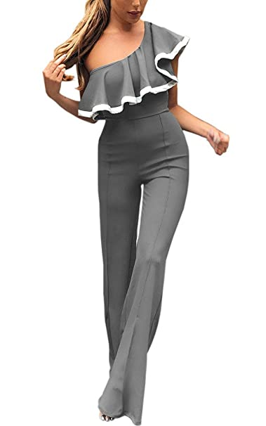 Lannister Fashion Tuta Donna Estiva Elegante Tute Lungo Una Spalla A Pieghe  Senza Spalline Pantaloni Obliquo Jumpsuit da Cerimonia Tutine Intere Slinky  ... f77696c327d