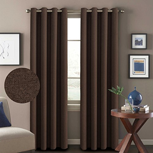 Brown Grommets (H.Versailtex (Set of 2) Classical Grommet Thermal Insulated Durable Textured Tiny Plaid Linen Like Innovated 85% Blackout Living Room Curtains, 52x96-Inch -)
