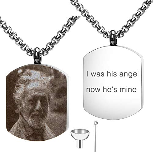 Personalized Custom Engraving Photo & Text Cremation Jewelry Urn Necklace for Ashes Keepsake Memorial Pendant with Funnel Kit(Dog Tag Style 2)