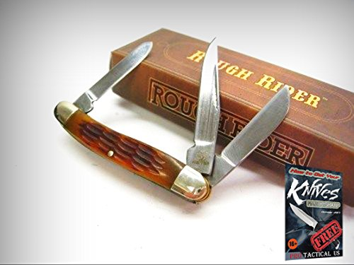 ROUGH RIDER Jigged AMBER Bone Tiny STOCKMAN 3 Blade Folding Pocket Knife 001814 + free eBook by ProTactical'US