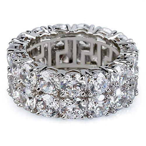 Big Dimond Ring (Jewelrysays Hip Hop CZ Jewelry Mens Fashion Zircon 2 Row Tennis Ring Gold Plated Dimond Ring)