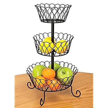 METAL 3-TIER WIRE BASKET PRODUCE RACK BY DBROTH