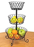 Carol Wright Gifts 3-Tier Wire Basket,Black,One Size Fits All