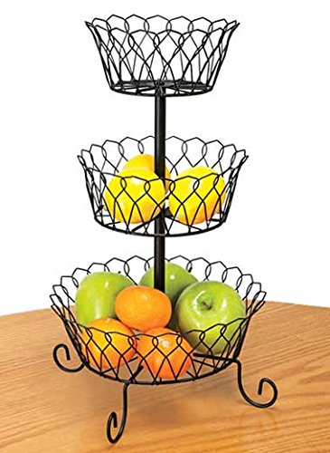 3 tier fruit basket bowl holder stand kitchen storage organizer wire black home ebay. Black Bedroom Furniture Sets. Home Design Ideas