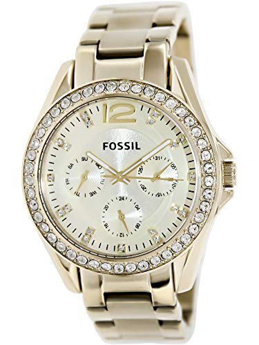 Steel Bracelet Womens Stainless Fossil (Fossil Women's ES3203 Riley Multifunction Gold-Tone Stainless Steel Watch)
