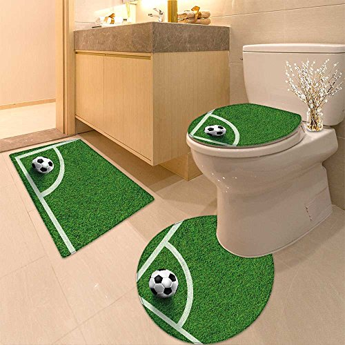 3 Piece Toilet Cover set Corner of soccer field image Extra Soft Memory Foam Combo - Rug, Contour Mat and Lid Cover by NALAHOMEQQ
