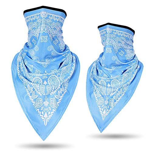 Fenfangxilas Fashion Unisex Mouth Face Cover Fashion Printed Outdoor Cycling Breathable Anti UV Sun Triangle Scarf Face Safety Face for Dust Protection – Sky Blue