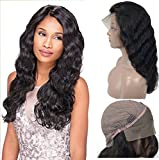 Brazilian Virgin Human Hair Lace Front Wigs Glueless Long Body Wave With Baby Hair For Black Women 130% Density Natural Black 16inch By Veer