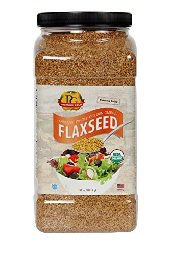 Premium Gold Organic Whole Flax Seed | High Fiber Food | Omega 3 | 96oz