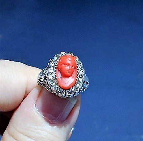 (1 Dainty Genuine Red Coral Cameo Ring Carved Face Forward Cameo w/Hair Up, Tendrils, Gown. Sterling Filigree Rhinestone Ring Size 4 1/2 OOAK)