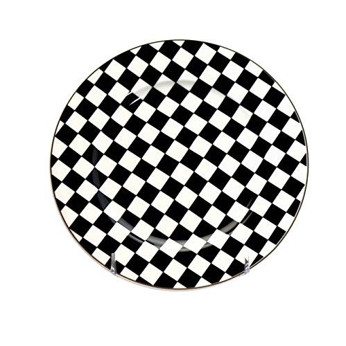 - 6 piece China Dessert or Salad Plates Set Black & White Checkered Flag Pattern