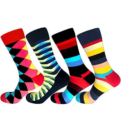 Men's Colorful Crew Dress Pattern Socks Fashionable funky cool Long Cotton Crew Striped Novelty Socks for Men boys (4 ()