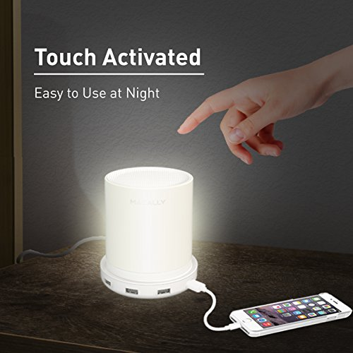 Macally Led Desk, Bedside & Nightstand Table Lamp with 4 High Powered USB Charging Ports - 3 Level Brightness Touch Sensor Control - Dimmable Warm White Light (LAMPCHARGE)