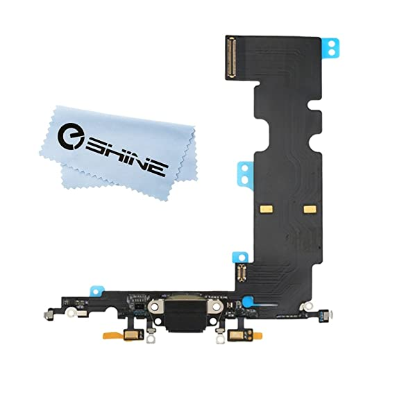 low priced 920d6 610ca EShine Charging Port Dock Connector Mic Flex Cable Replacement for iPhone 8  Plus 5.5-inch (All Carriers) + Cloth (Gray)