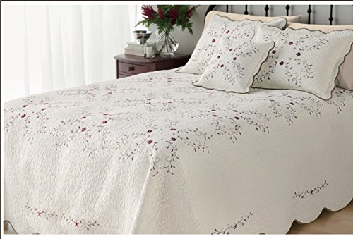 CribMATE 100% Cotton Quilted Bedspread, Luxury Amelia Embroidered Bedspread White Embroidered Flower Quilted Blanket Gift Idea for Girl Women (1 King Size Quilt)