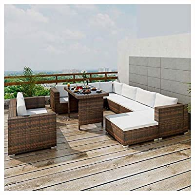HomyDelight Outdoor Furniture Set, 10 Piece Garden Lounge Set with Cushions Poly Rattan Brown