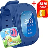 (US) GBD GPS Tracker Smart Watch for Kids with Sim Card Smartwatch Phone Anti-lost Finder SOS Gprs Children Fitness Tracker Wrist Watch Bracelet with Parents Control App for Smartphone (Royal Blue)
