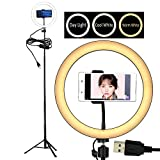 10'' Selfie LED Ring Light with Tripod Stand &Cell Phone Holder Desktop Lamp Mini Led Camera Light for YouTube Video and Live Makeup/Photography