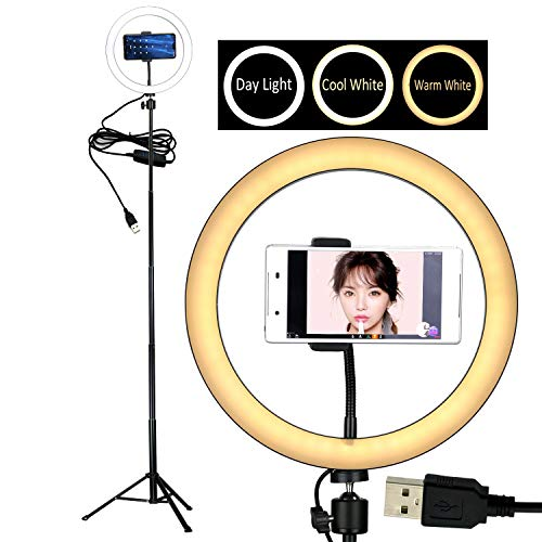 10'' Selfie LED Ring Light with Tripod Stand &Cell Phone Holder Desktop Lamp Mini Led Camera Light for YouTube Video and Live Makeup/Photography by COOSPIDER (Image #8)